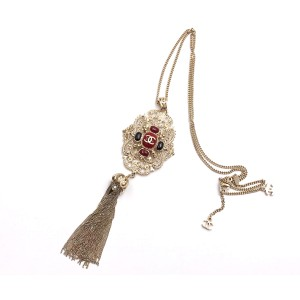 Chanel Gold Tone Hardware Red & Black Stone Filigree Tassel Necklace