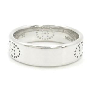 HERMES 18K White Gold Eclipse Evelyne H Logo Ring US 6.5