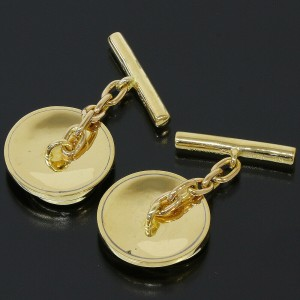 Gucci 18k Yellow Gold Logo Design Cufflinks