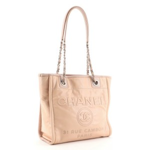 Chanel North South Deauville Tote Glazed Calfskin Small