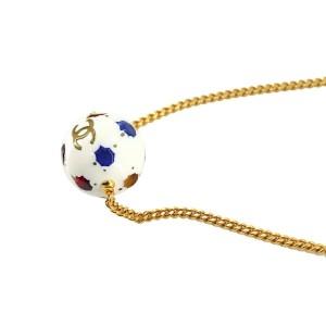 CHANEL Gold/Rhinestone Coco Logos Ball Necklace