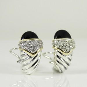 David Yurman 18K Yellow Gold 925 Sterling Silver Onyx .55tcw Diamond Earrings