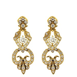 14K Yellow Gold with 0.7ct Diamond Long Drop Earrings