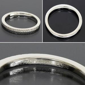 Tiffany & Co. 950 Platinum Novo Half Diamond Ring Size 3.25