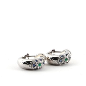 Cartier Huggie Clip-On Earrings 18K White Gold with Diamonds, Sapphire and Emerald