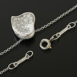 Tiffany&Co. Platinum 950 Elsa Peretti Curved Heart Pendant Necklace