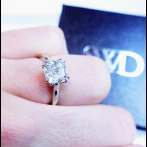 Platinum with 2.31ct Asscher Cut Diamond Solitaire Ring Size 6.5