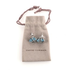 David Yurman Cable Wrap Stud Earrings Sterling Silver with Diamonds and Blue Topaz