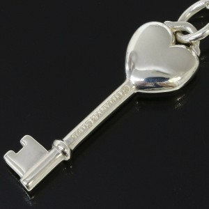 TIFFANY & CO. Sterling Silver 925 1P Diamond Heart Key Pendant Necklace