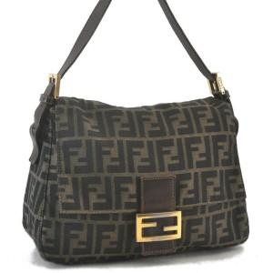 FENDI Canvas Leather Zucca Mamma Baguette Shoulder Hand Bag