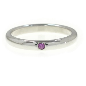 Tiffany & Co. Sterling Silver Pink Sapphire Ring Size 6.75