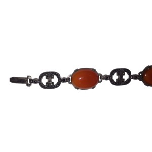 Sterling Silver Marcasite & Carnelian Cabochon Vintage Bracelet