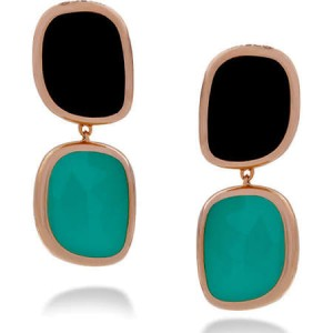 Roberto Coin 18K Rose Gold Black Jade & Green Agate Earrings