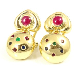Ponte Vecchio 18K Yellow Gold Ruby Emerald Pierced Earrings CHAT-596