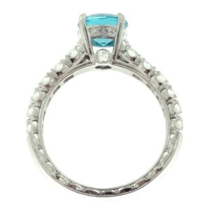 Jack Kelege 18K White Gold Blue Topaz .57ctw Diamond Ring Size 6