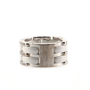 Chanel Ultra Link Ring 18K White Gold with Diamonds and Ceramic Large 9.5 - 61