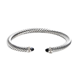 1c8eb8da141897 David Yurman Cable Classic Sterling Silver with Black Onyx & 0.07ct.  Diamonds Bracelet