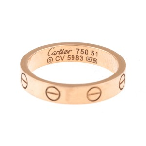 Cartier 18K Rose Gold Mini Love Ring Size 5.75
