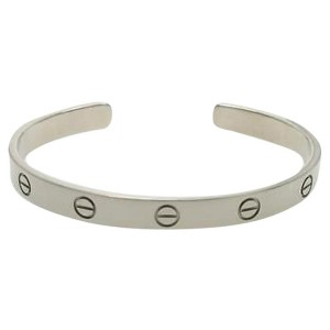Cartier 18K White Gold Love Cuff Bracelet Size 19