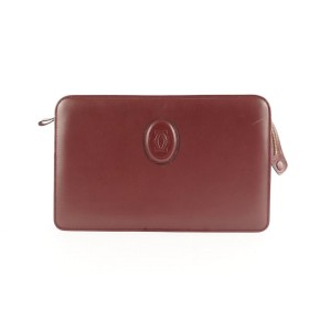 Cartier Bordeaux Leather Clutch Bag 505ct35
