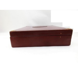 Cartier Hard Trunk Briefcase Attache Burgundy 239242 Bordeaux X Gold Leather Satchel