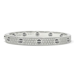 Cartier Love Bracelet 18 Karat White Gold With Diamonds Size 17