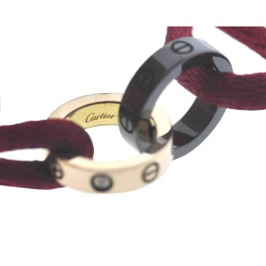 """Cartier 18K Rose Gold Diamond and 2 Hoops Red Cord Love Bracelet Size: 7.5"""""""