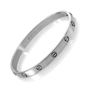Cartier 18K White Gold Love Bracelet Size 19