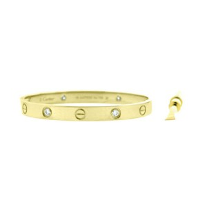Cartier Love Bracelet Yellow Gold with 4 Diamonds Size 18 B6035917