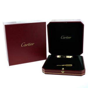 Cartier Love Bracelet Yellow Gold with 4 Diamonds Size 17 B6035917