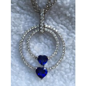 Spark Diamond and Sapphire Hearts Pendant Necklace