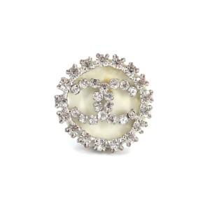 CHANEL Silver Coco Rhinestone Ring