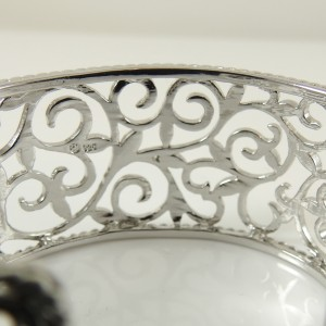 Sterling Silver Laurel Design Cuff Bracelet with Diamond Accents