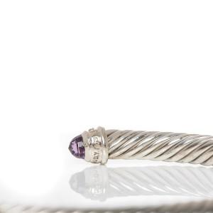 David Yurman Cable Sterling Silver Amethyst Pave Diamond Bracelet