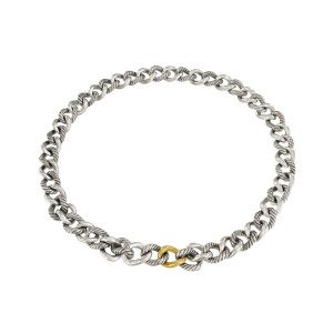 David Yurman Sterling silver & Gold Curb Link Necklace