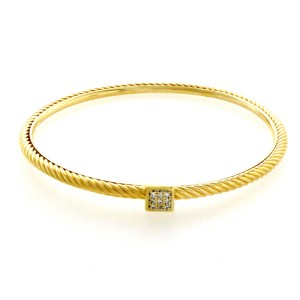David Yurman Cable 18K Yellow Gold Diamond Bracelet