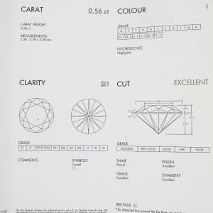 De Beers Solitaire Diamond 0.56ct Ring Platinum 950 US4.25 w/Box,Cert