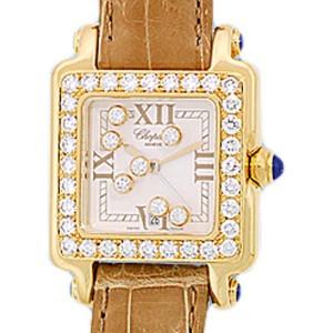 Chopard Happy Sport Square Diamond 18K Yellow Gold Womens Watch