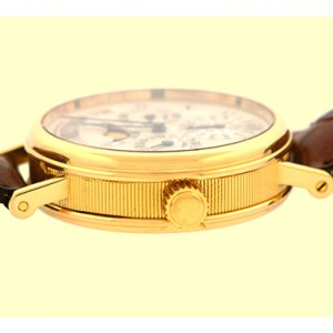 Breguet 3437 18K Yellow Gold & Leather Silver Dial 37mm Mens Watch