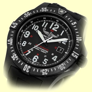 "Breitling ""Colt Skyracer"" Stainless Steel & Rubber Black Dial Quartz 45mm Mens Watch"