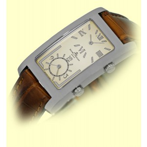 "Baume & Mercier ""Hampton Dual Time"" Stainless Steel & Leather Quartz Mens Watch"