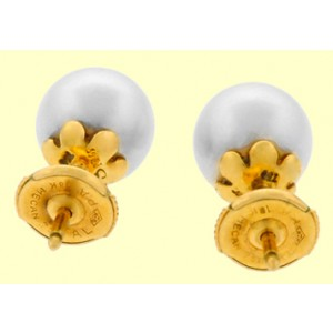Cartier 18k Yellow Gold Cultured Natural Pearl Stud Earrings