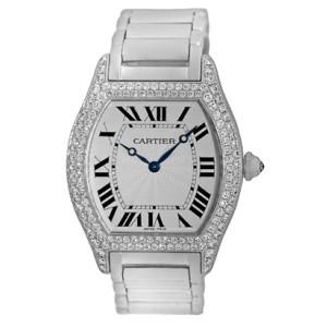 Cartier Diamond 18K White Gold, Sterling Silver, Stainless Steel Diamond, Sapphire Bracelet