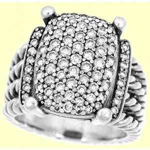 Lady's Sterling Silver David Yurman Pave Diamond Ring.