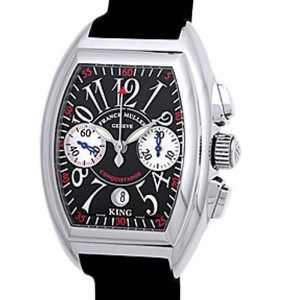 """Franck Muller """"Conquistador King Chronograph"""" Stainless Steel Mens Strap Watch"""
