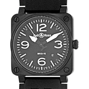 """Bell & Ross """"Aviation Type"""" Stainless Steel & Carbon Finish Mens Strap Watch"""