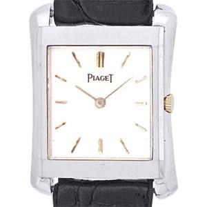 "Piaget ""Classique Tank"" 18K White Gold Mens Strap Watch"