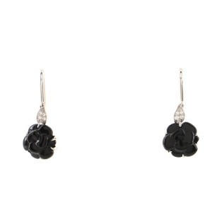Chanel Camelia Sculpte Dangle Earrings 18K White Gold with Diamonds and Onyx