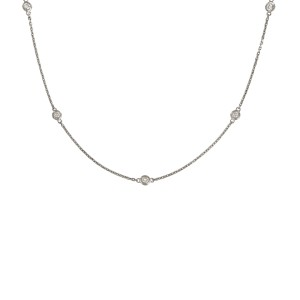 14K White Gold with 0.4ctw. Diamond By the Yard Necklace