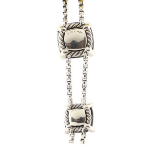 David Yurman Chatelaine Lariat Necklace Sterling Silver with Onyx and Diamonds